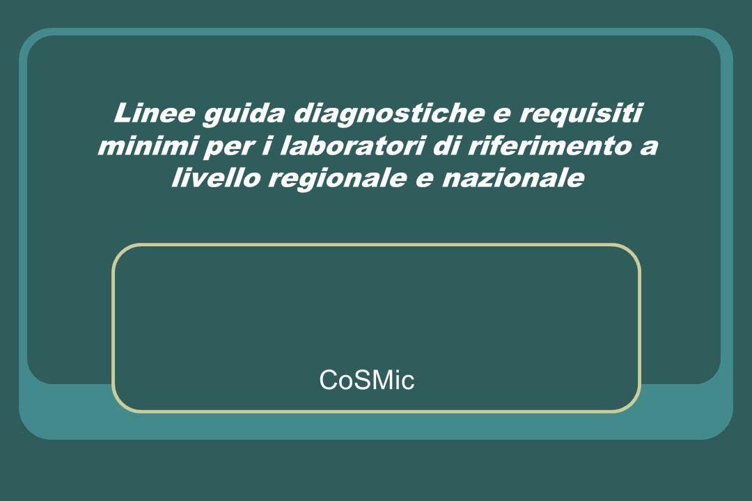Linee guida diagnostiche e requisiti minimi per i laboratori di riferimento a livello regionale e nazionale