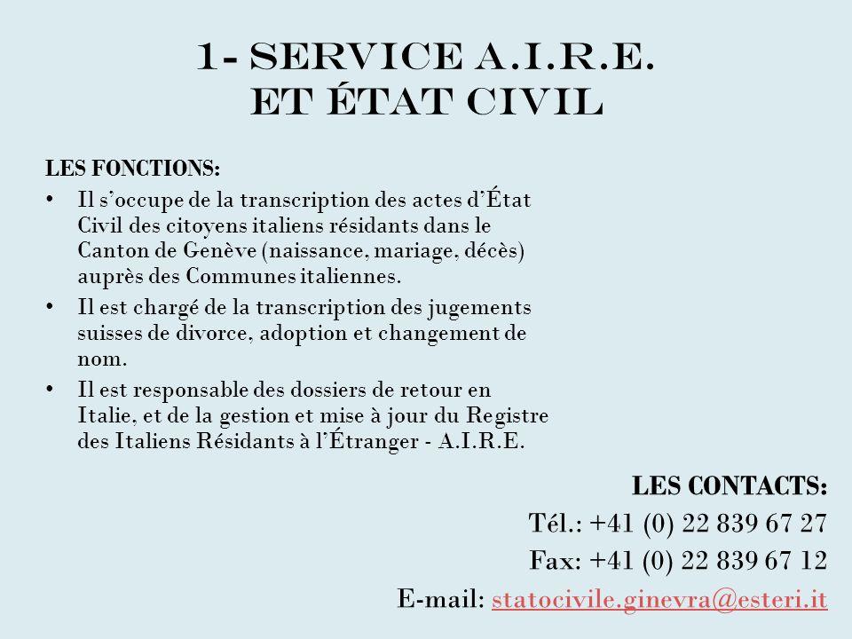 1- service A.I.R.E. et état civil