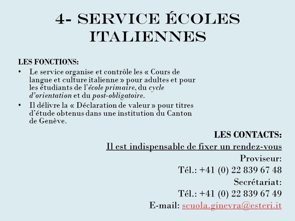 4- SERVICE éCOLEs ITALIENNEs