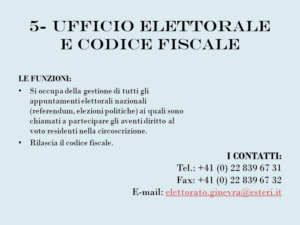 5- UFFICIO ELETTORALE E CODICE FISCALE