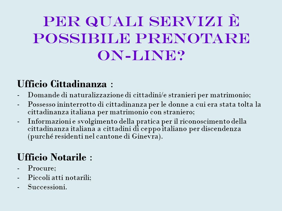 Per quali servizi è possibile prenotare on-line