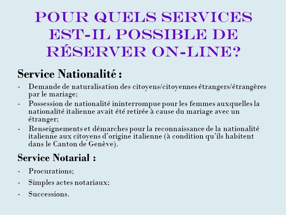 Pour quels services est-il possible de réserver on-line