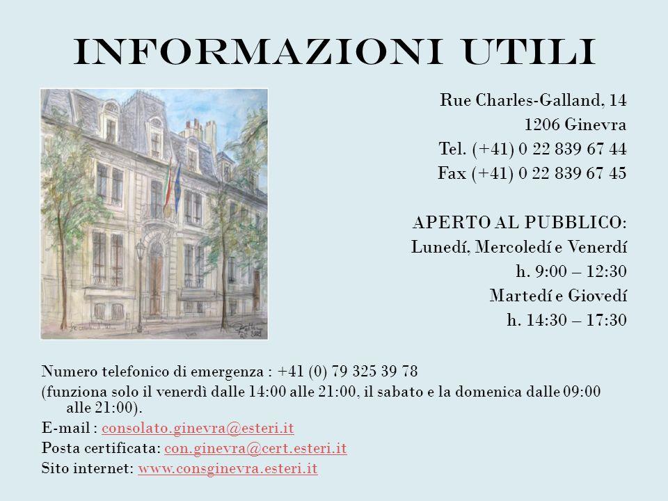 Informazioni utili Rue Charles-Galland, 14 1206 Ginevra
