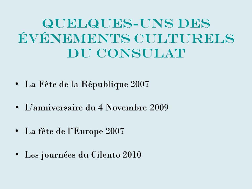Quelques-uns des événements culturels du Consulat