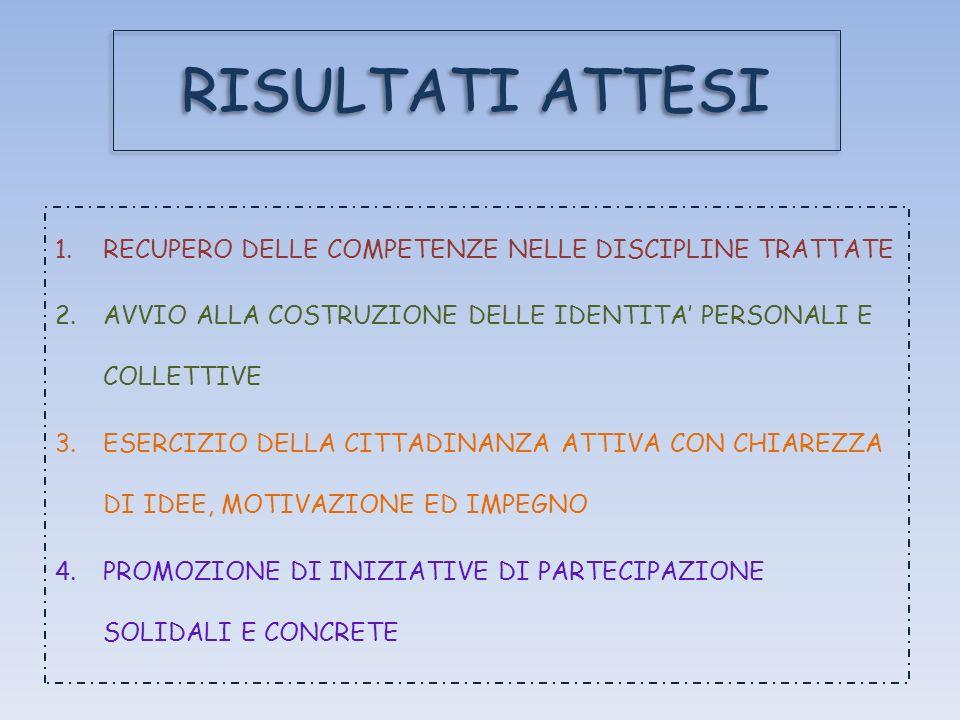RISULTATI ATTESI RECUPERO DELLE COMPETENZE NELLE DISCIPLINE TRATTATE