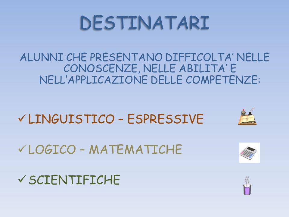 DESTINATARI LINGUISTICO – ESPRESSIVE LOGICO – MATEMATICHE SCIENTIFICHE