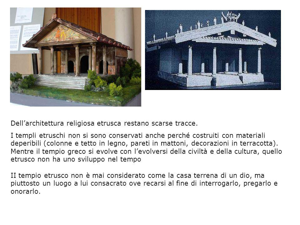 Dell'architettura religiosa etrusca restano scarse tracce.