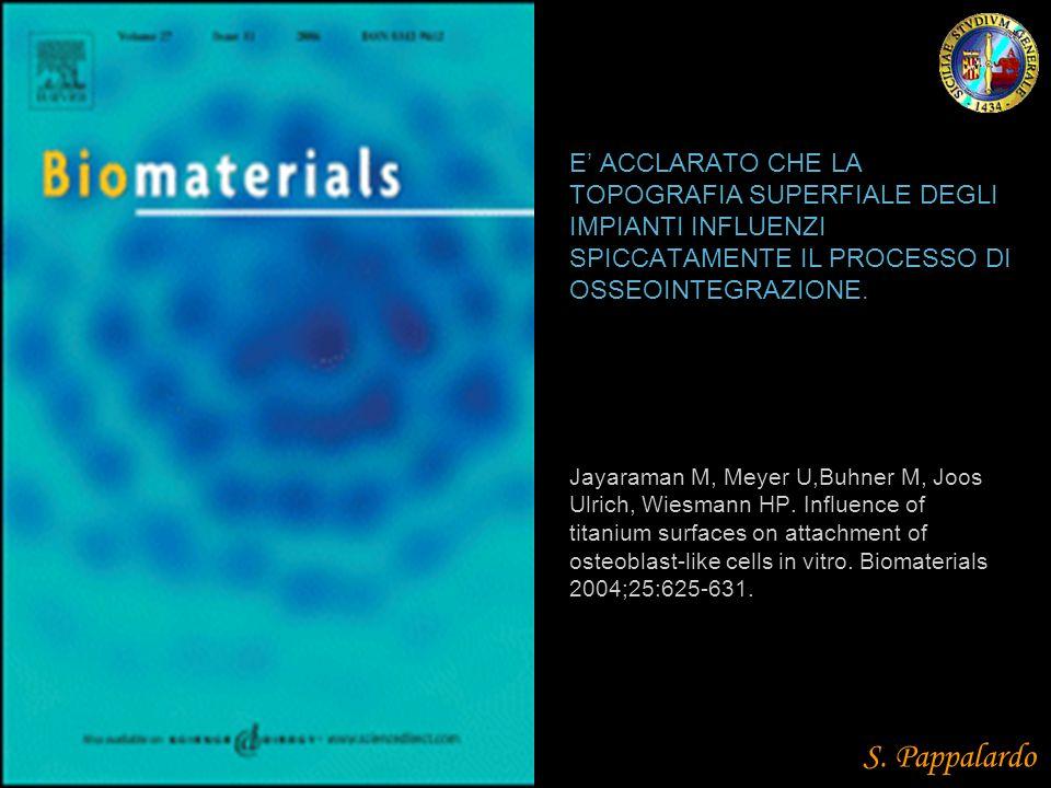 E' ACCLARATO CHE LA TOPOGRAFIA SUPERFIALE DEGLI IMPIANTI INFLUENZI SPICCATAMENTE IL PROCESSO DI OSSEOINTEGRAZIONE. Jayaraman M, Meyer U,Buhner M, Joos Ulrich, Wiesmann HP. Influence of titanium surfaces on attachment of osteoblast-like cells in vitro. Biomaterials 2004;25:625-631.