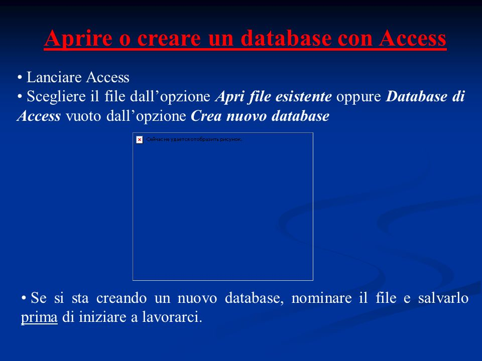Aprire o creare un database con Access