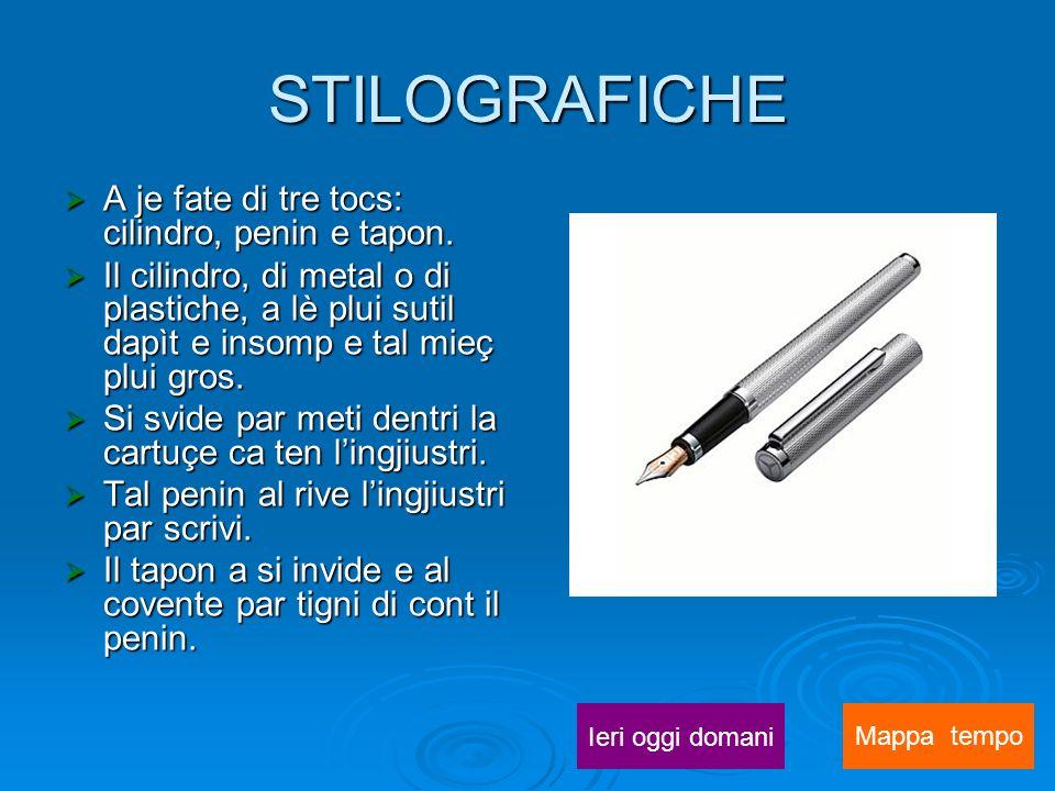 STILOGRAFICHE A je fate di tre tocs: cilindro, penin e tapon.