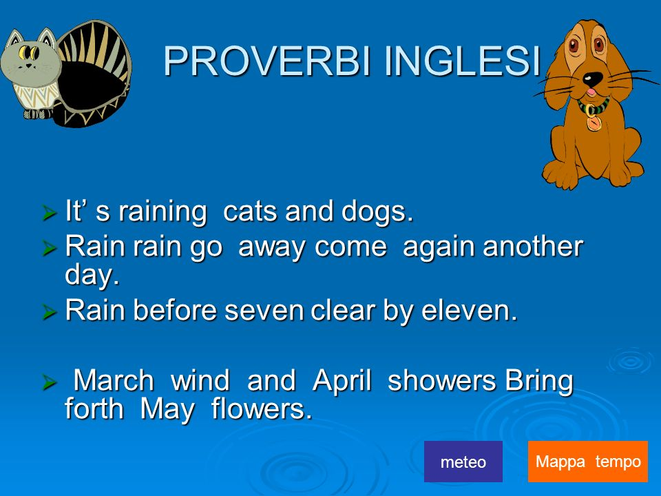 PROVERBI INGLESI It' s raining cats and dogs.