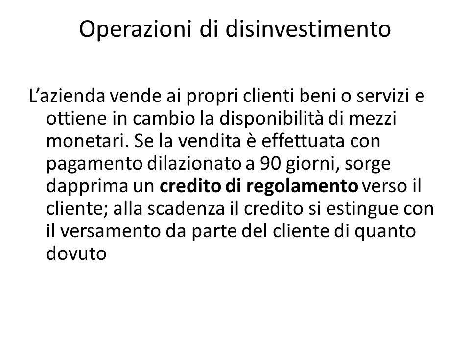 Operazioni di disinvestimento