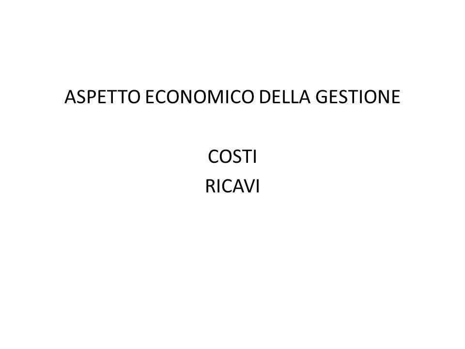 ASPETTO ECONOMICO DELLA GESTIONE