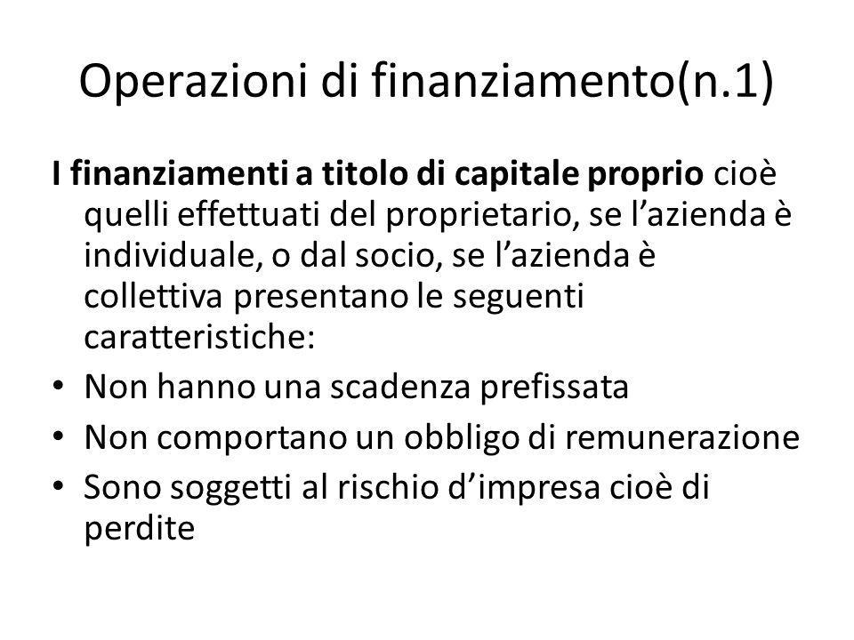 Operazioni di finanziamento(n.1)