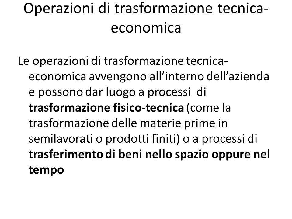 Operazioni di trasformazione tecnica-economica