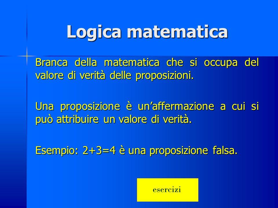 Logica matematica Branca della matematica che si occupa del valore di verità delle proposizioni.