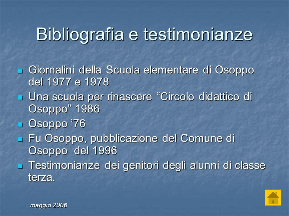 Bibliografia e testimonianze