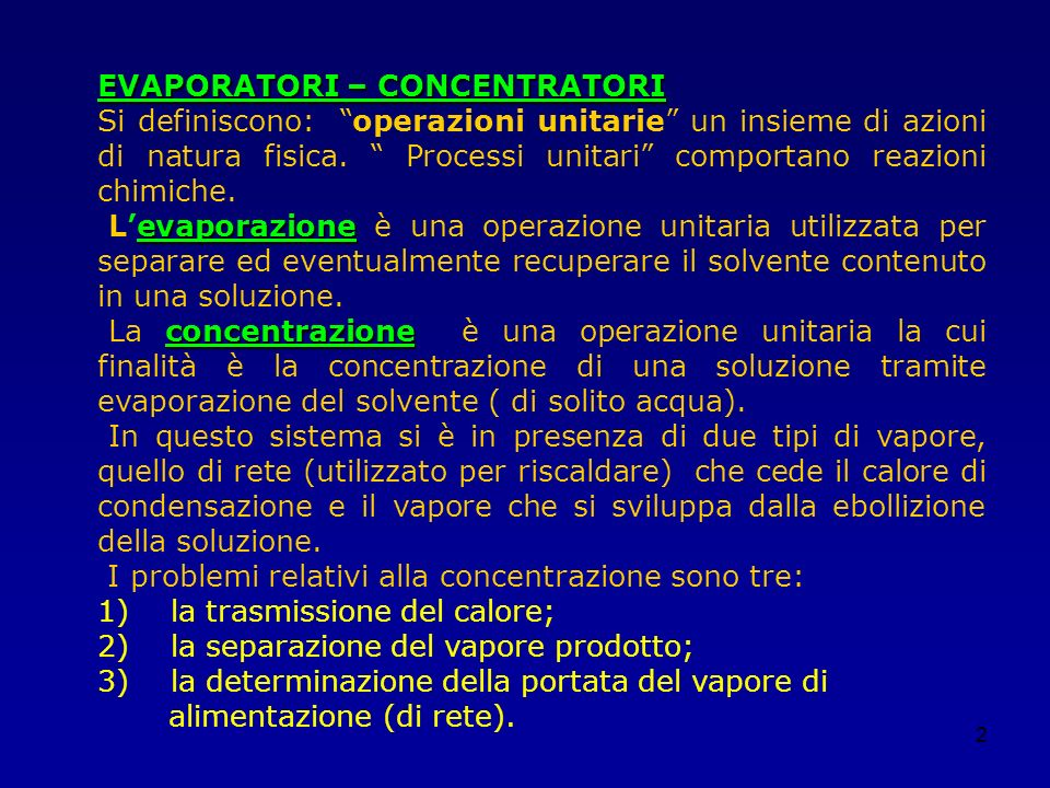 EVAPORATORI – CONCENTRATORI
