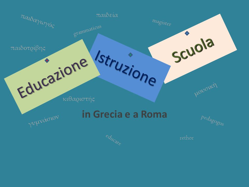 Scuola Istruzione Educazione in Grecia e a Roma παιδεία παιδαγωγός