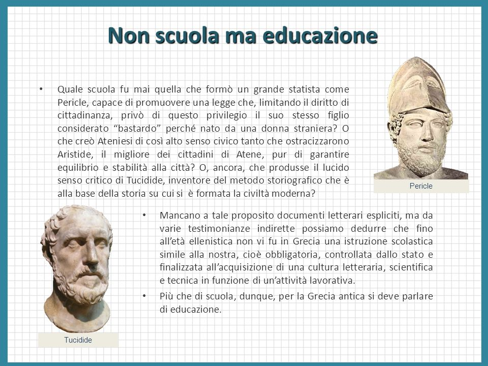 Non scuola ma educazione