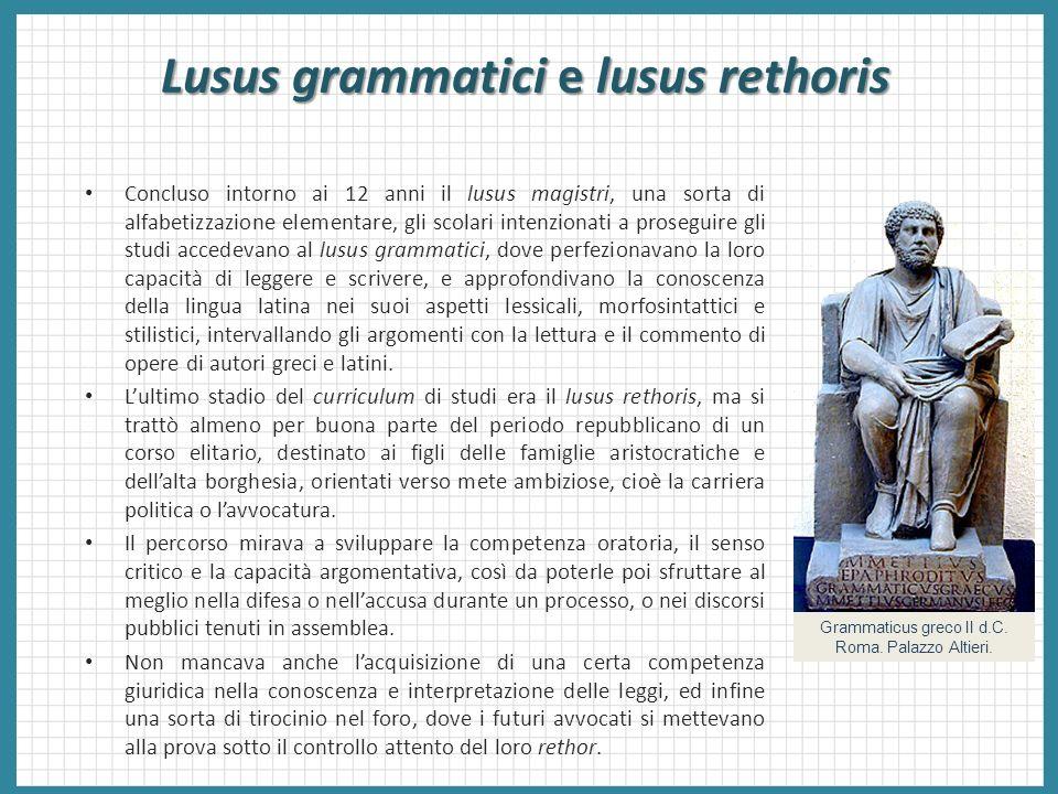 Lusus grammatici e lusus rethoris