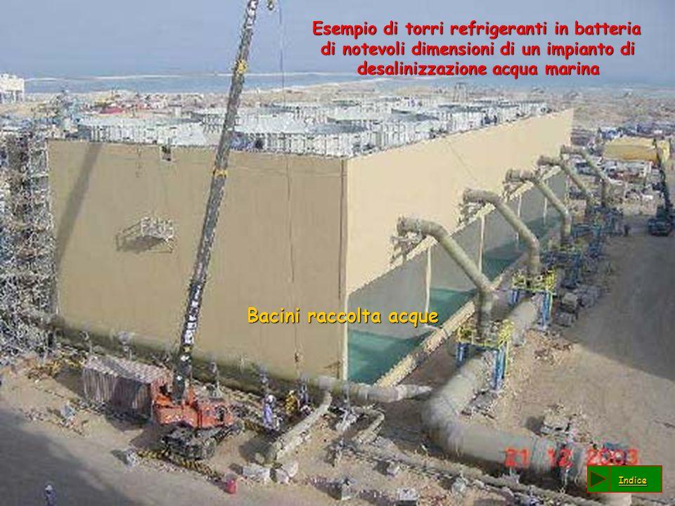 Esempio di torri refrigeranti in batteria di notevoli dimensioni di un impianto di desalinizzazione acqua marina