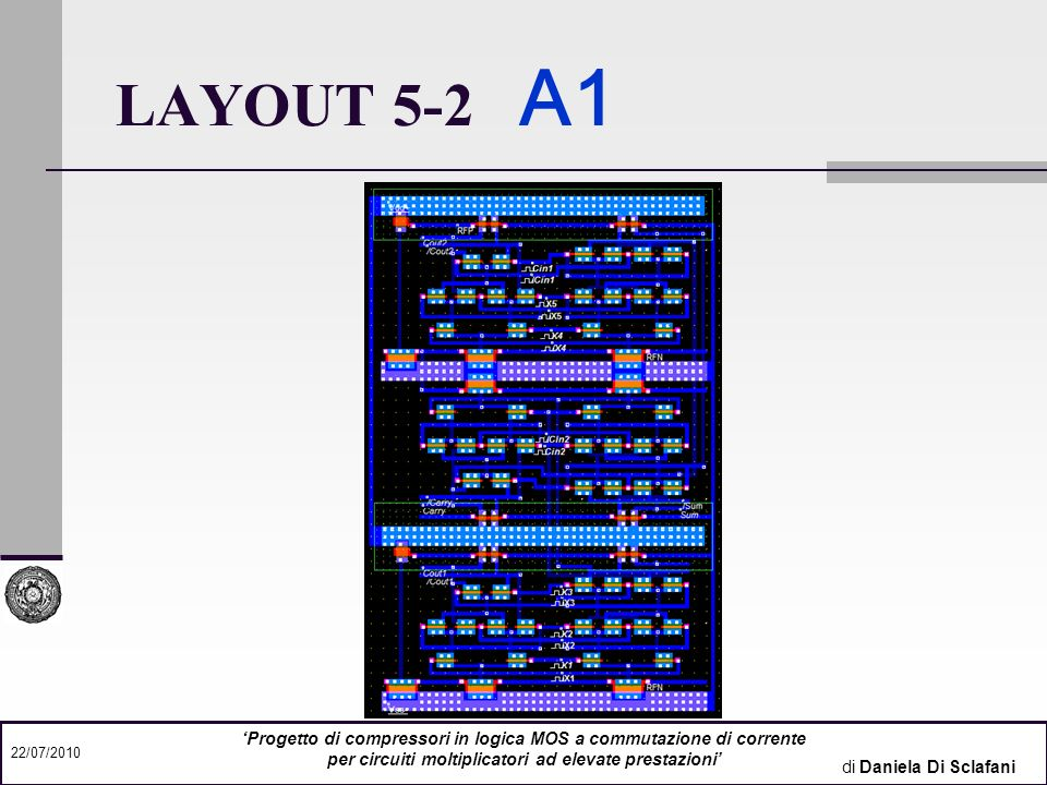 LAYOUT 5-2 A1 'Progetto di compressori in logica MOS a commutazione di corrente. per circuiti moltiplicatori ad elevate prestazioni'