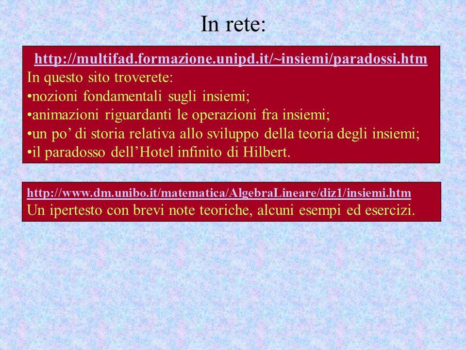 In rete: http://multifad.formazione.unipd.it/~insiemi/paradossi.htm