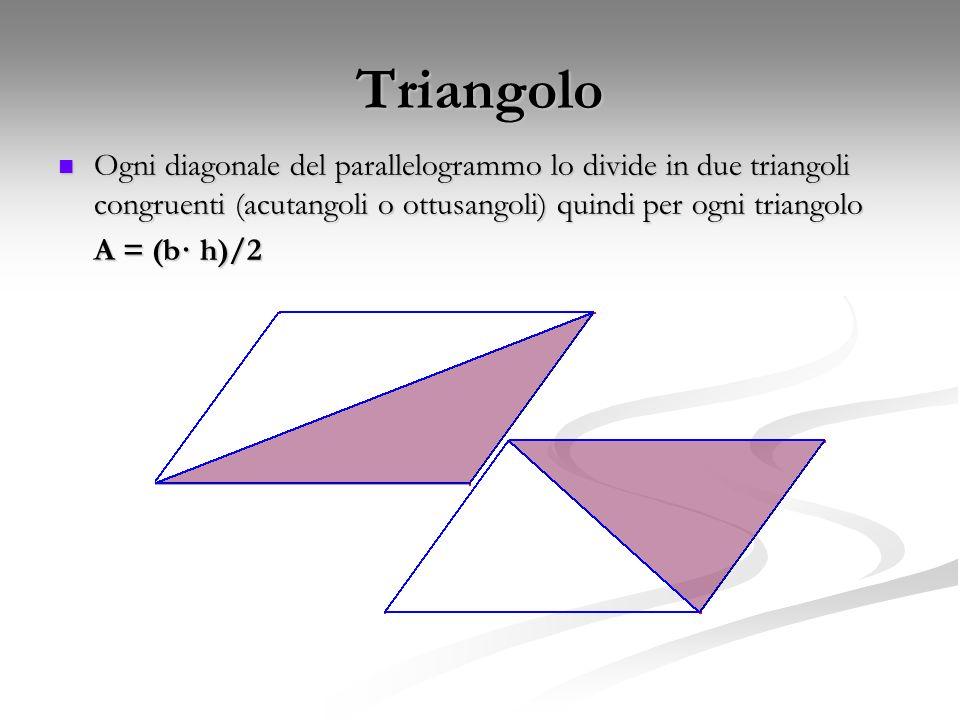Triangolo Ogni diagonale del parallelogrammo lo divide in due triangoli congruenti (acutangoli o ottusangoli) quindi per ogni triangolo.