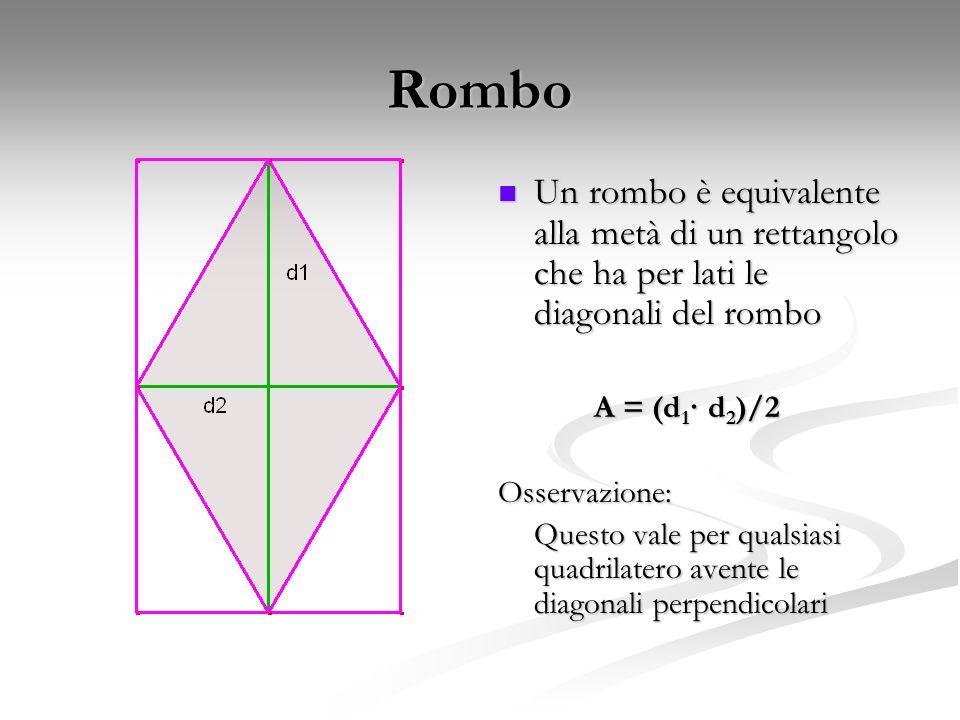 Rombo Un rombo è equivalente alla metà di un rettangolo che ha per lati le diagonali del rombo. A = (d1· d2)/2.