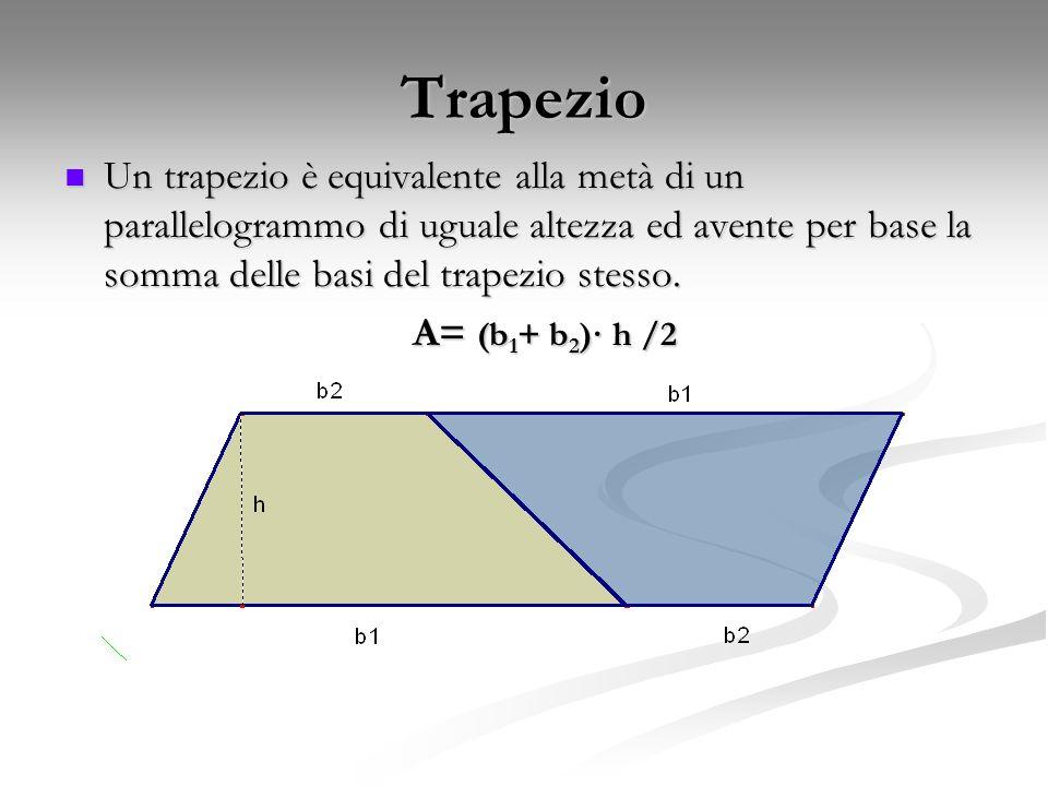 Trapezio Un trapezio è equivalente alla metà di un parallelogrammo di uguale altezza ed avente per base la somma delle basi del trapezio stesso.