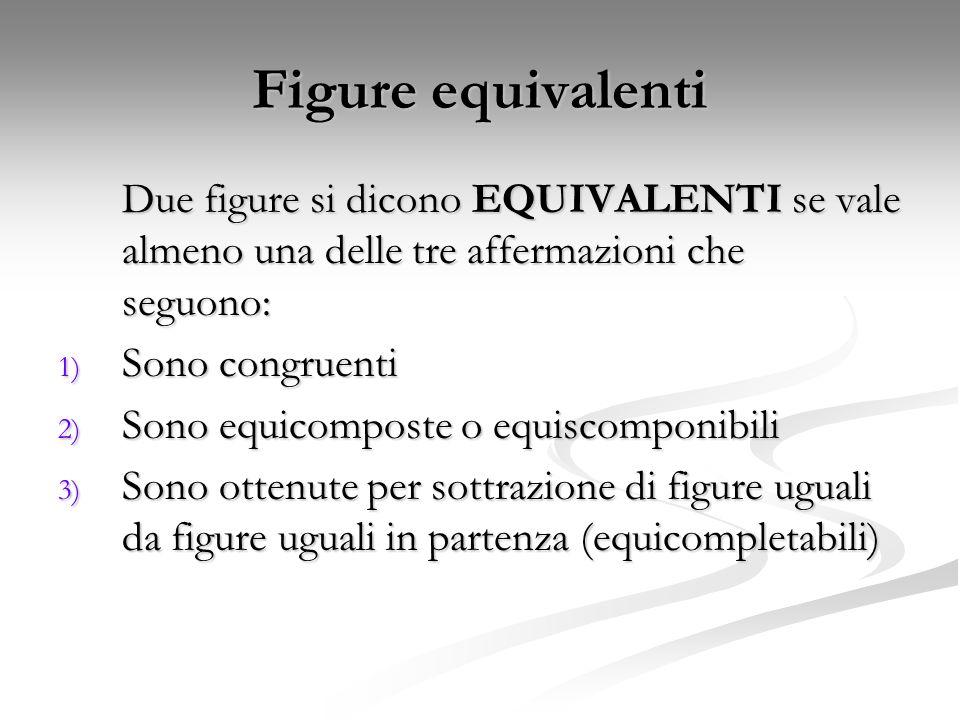 Figure equivalenti Due figure si dicono EQUIVALENTI se vale almeno una delle tre affermazioni che seguono: