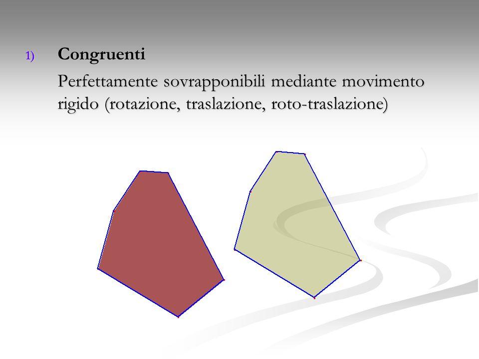 Congruenti Perfettamente sovrapponibili mediante movimento rigido (rotazione, traslazione, roto-traslazione)