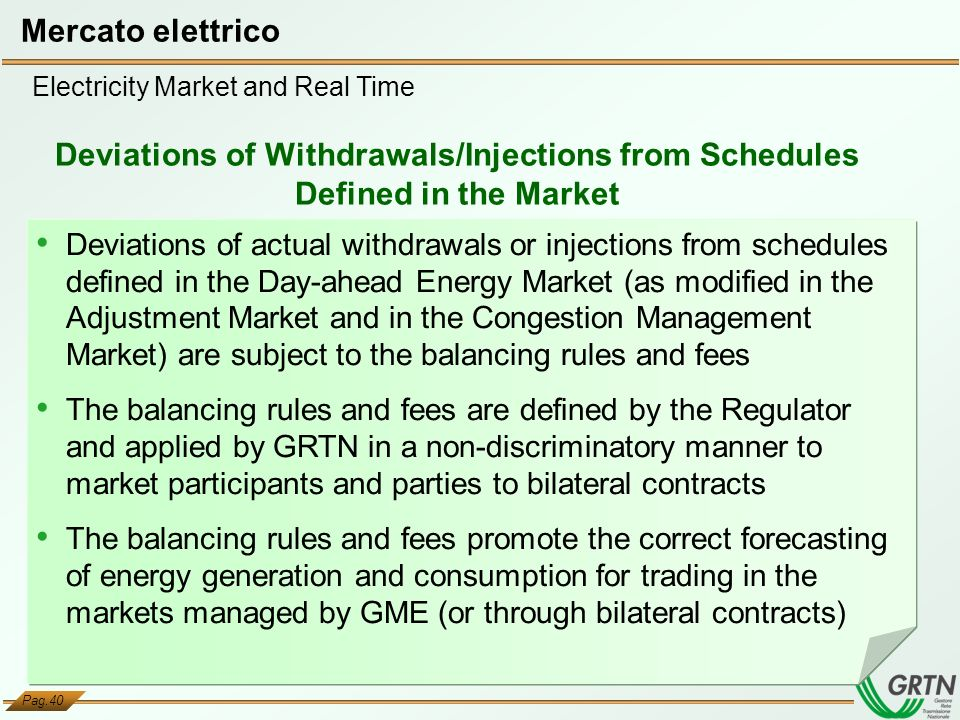 Mercato elettrico Electricity Market and Real Time. Deviations of Withdrawals/Injections from Schedules Defined in the Market.