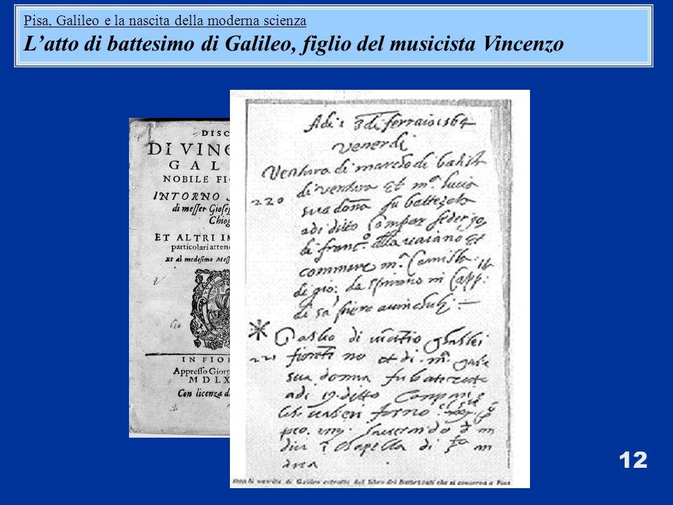L'atto di battesimo di Galileo, figlio del musicista Vincenzo