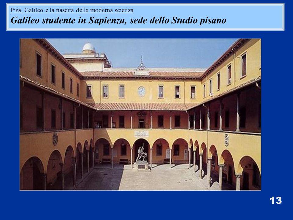 Galileo studente in Sapienza, sede dello Studio pisano