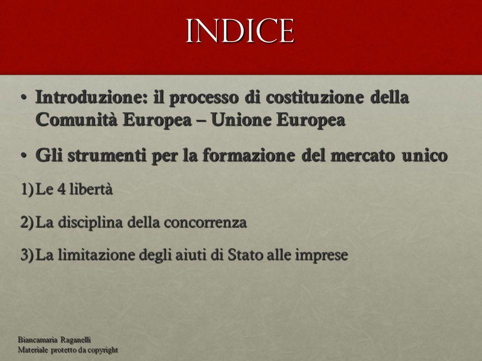 Indice Introduzione: il processo di costituzione della Comunità Europea – Unione Europea. Gli strumenti per la formazione del mercato unico.
