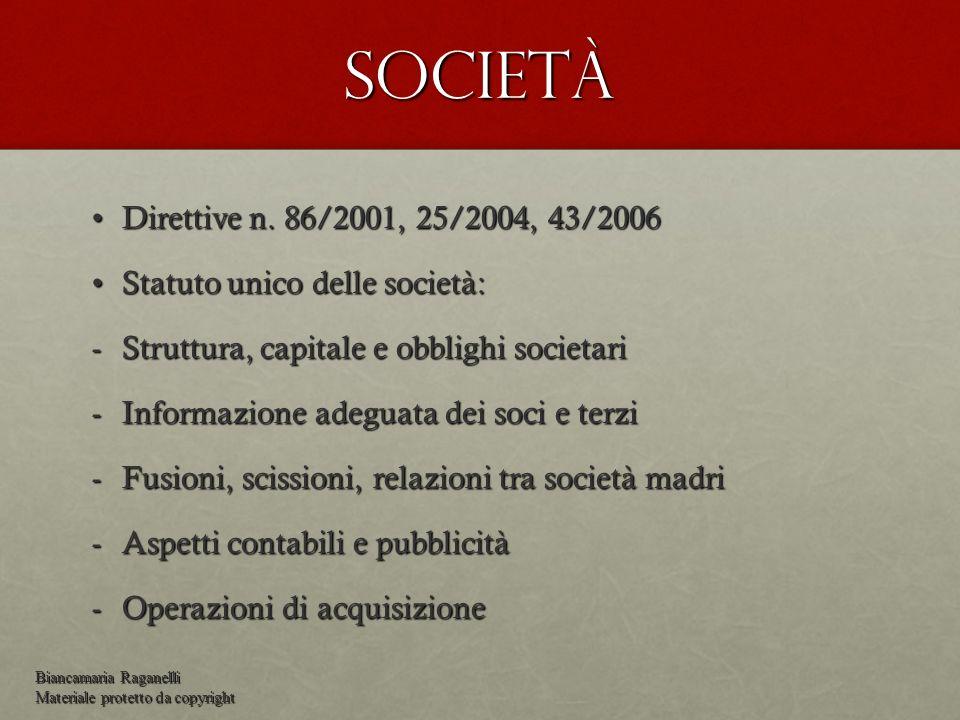 Società Direttive n. 86/2001, 25/2004, 43/2006