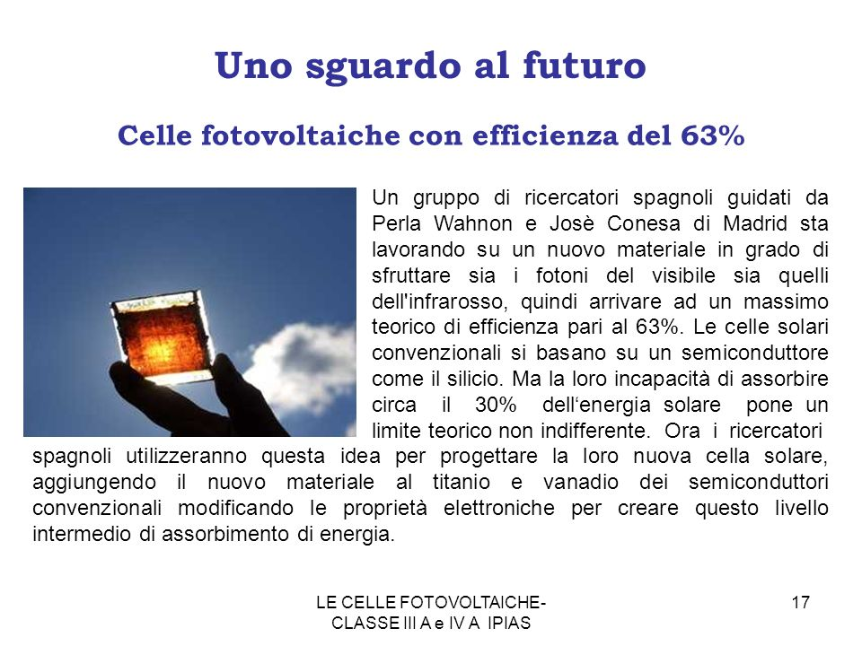Celle fotovoltaiche con efficienza del 63%