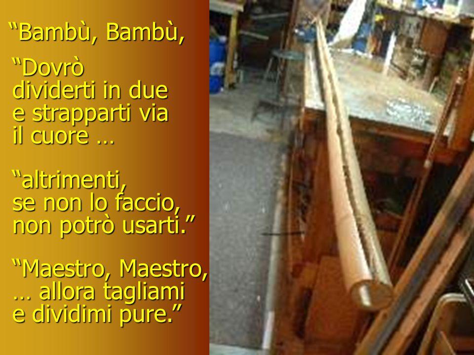 Bambù, Bambù, Dovrò. dividerti in due e strapparti via il cuore … altrimenti, se non lo faccio, non potrò usarti.