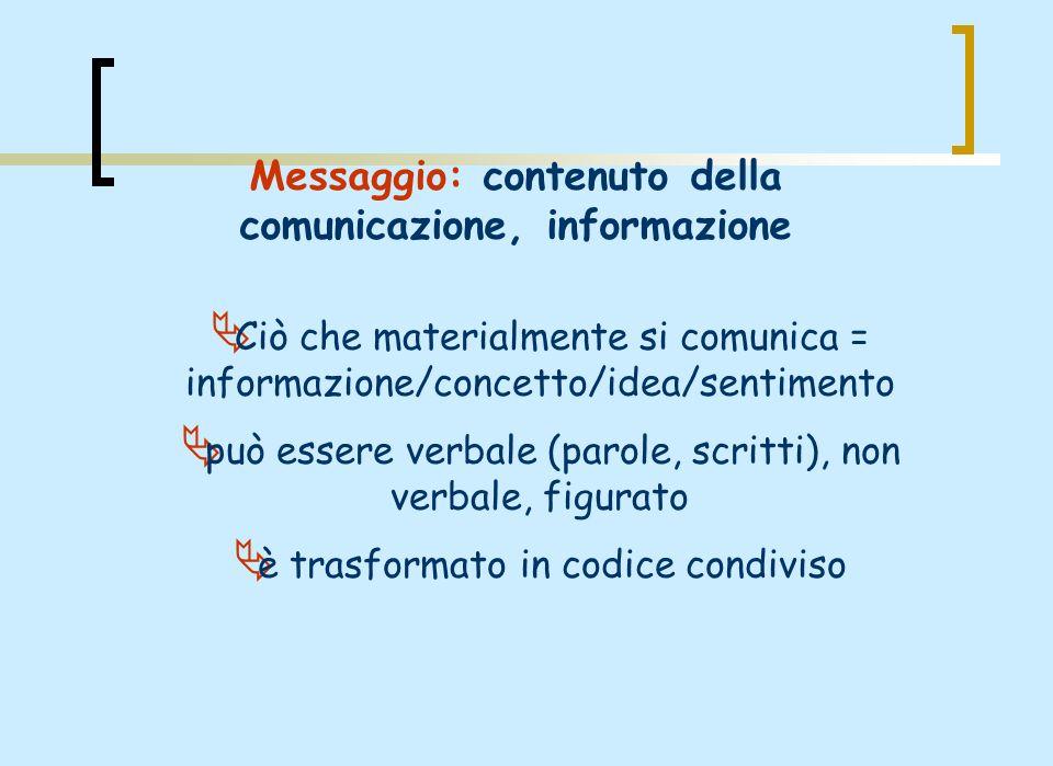 Messaggio: contenuto della comunicazione, informazione