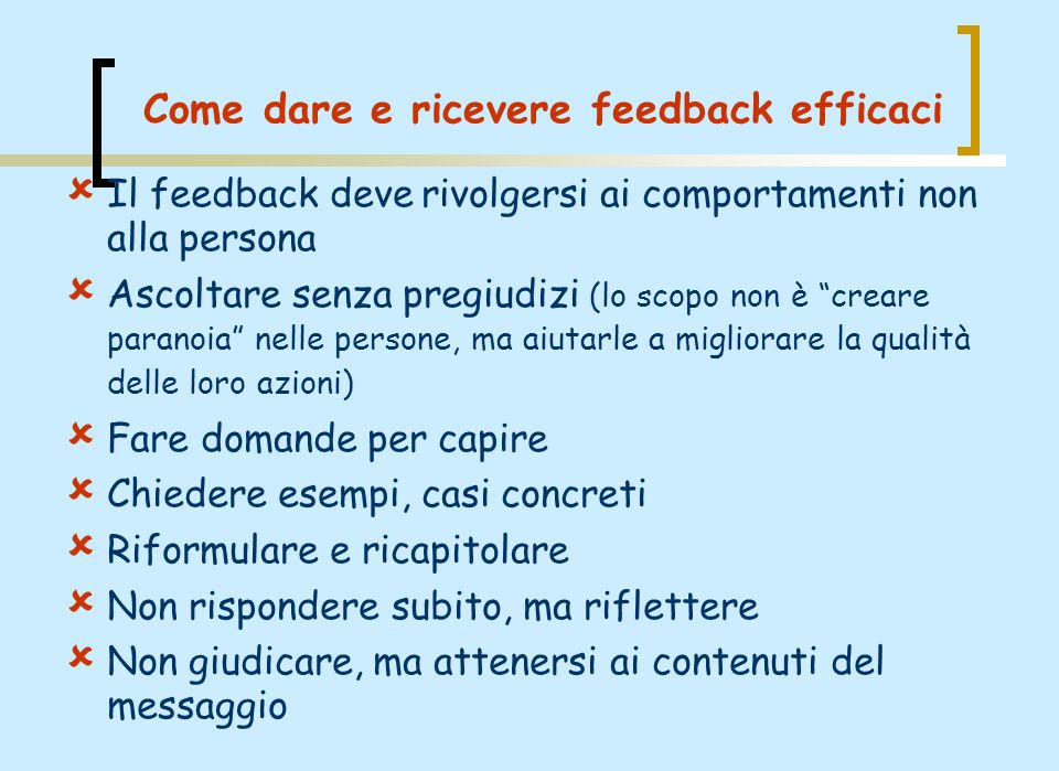 Come dare e ricevere feedback efficaci