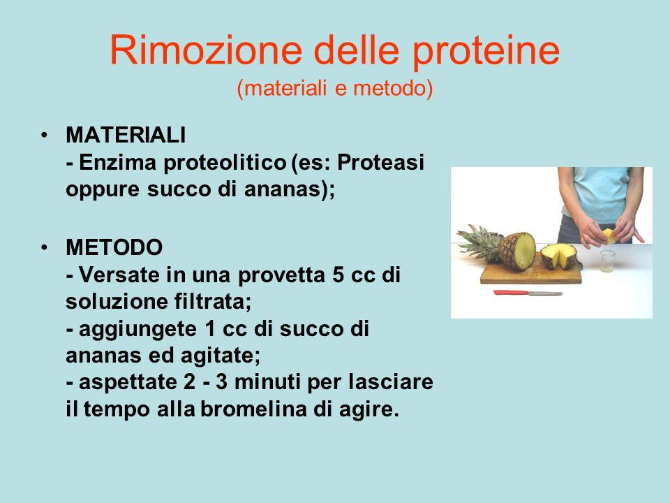 Rimozione delle proteine (materiali e metodo)