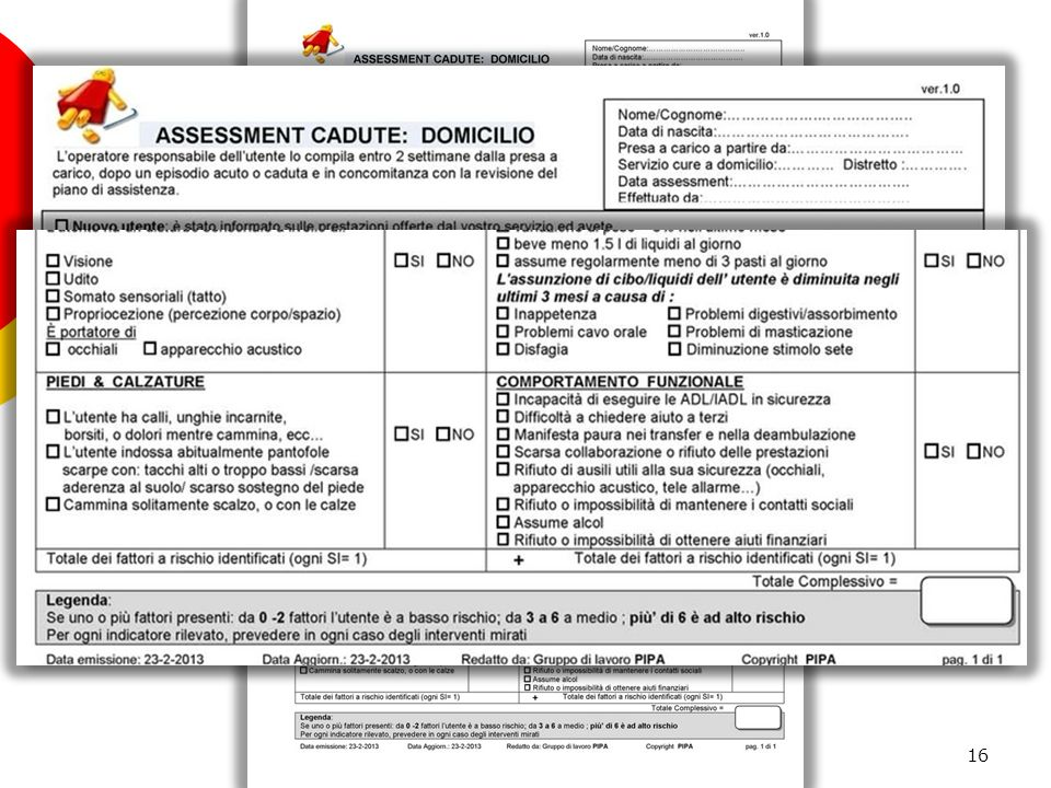 Assessment cadute: Domicilio