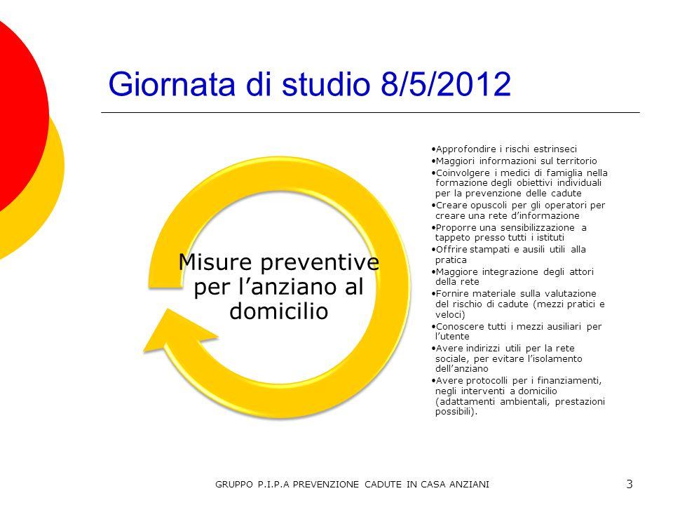 Giornata di studio 8/5/2012 Misure preventive per l'anziano al domicilio. Approfondire i rischi estrinseci.