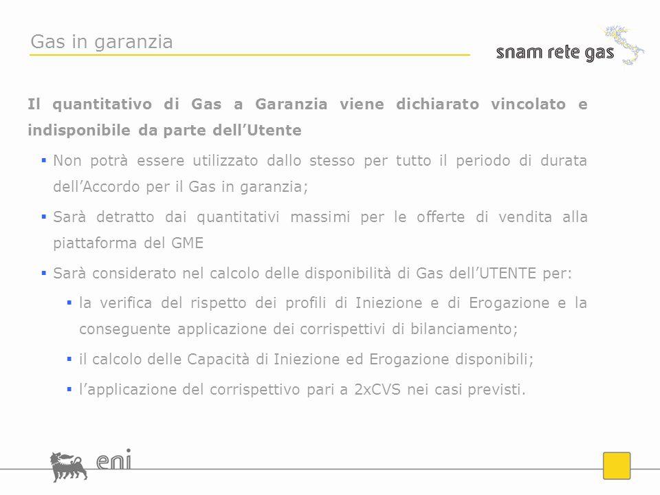 Gas in garanzia Il quantitativo di Gas a Garanzia viene dichiarato vincolato e indisponibile da parte dell'Utente.
