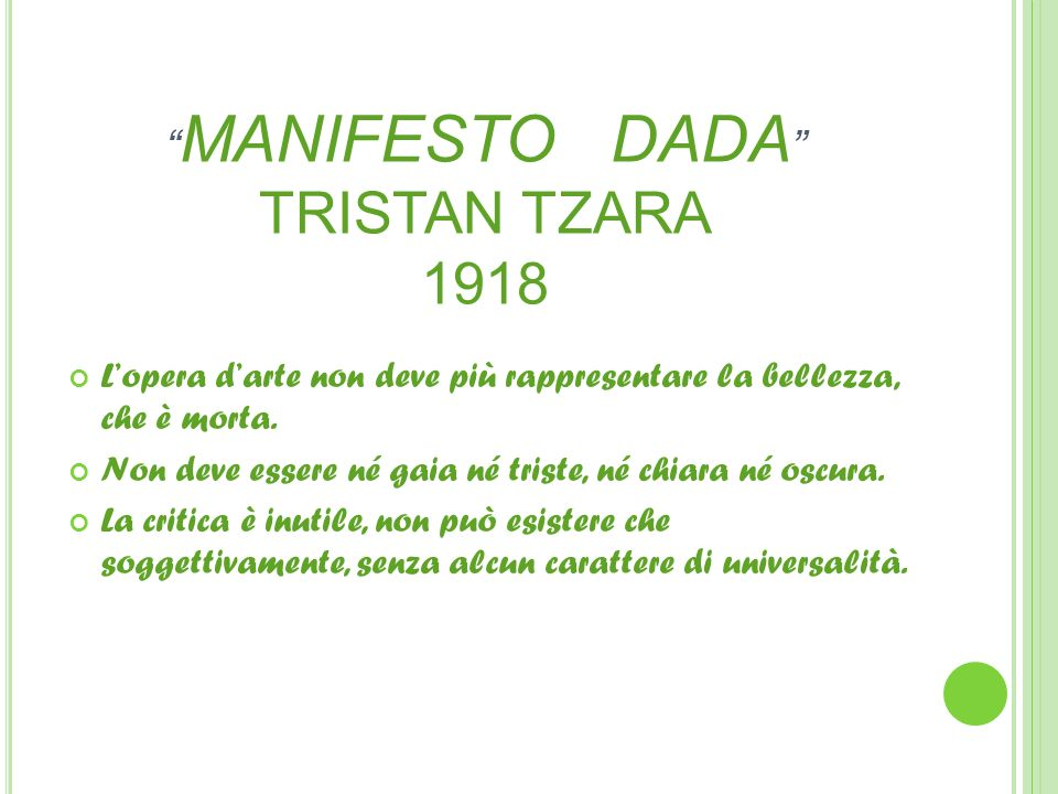 MANIFESTO DADA TRISTAN TZARA 1918