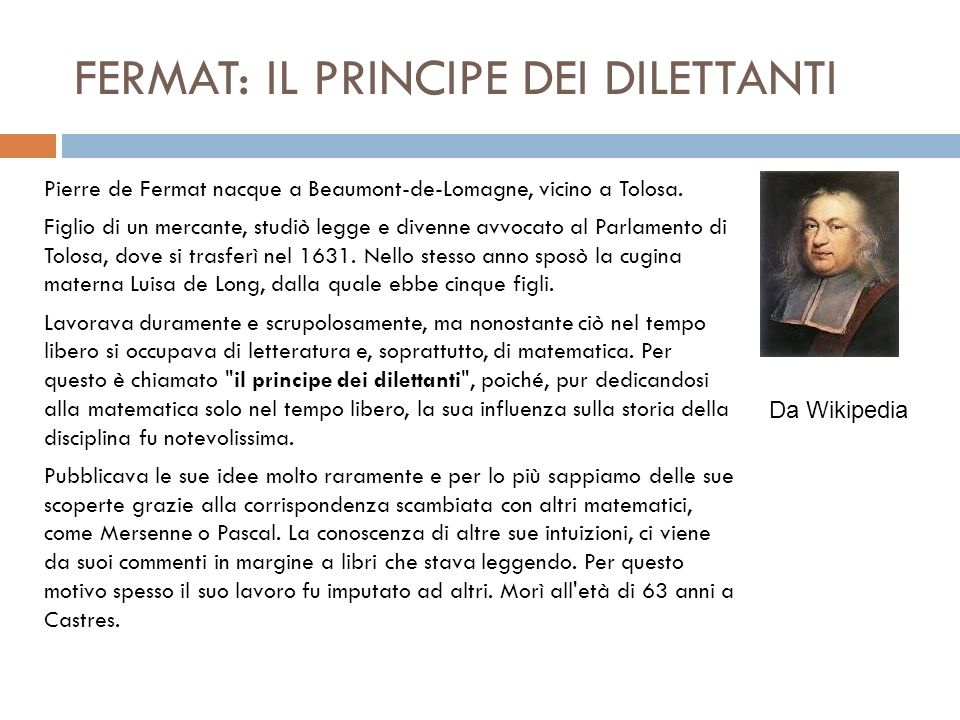FERMAT: IL PRINCIPE DEI DILETTANTI