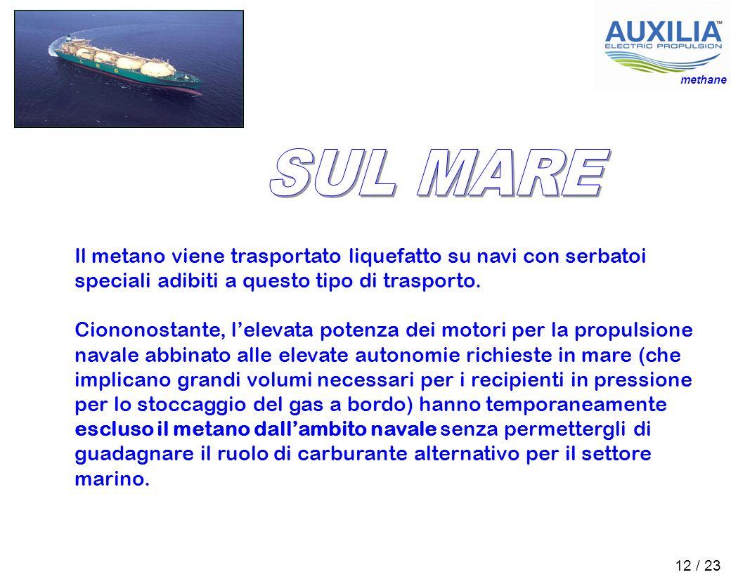 methane SUL MARE. Il metano viene trasportato liquefatto su navi con serbatoi speciali adibiti a questo tipo di trasporto.