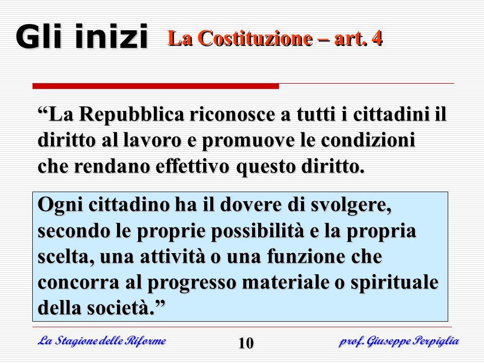 Gli inizi La Costituzione – art. 4